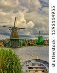 zaandam  holland  an old mill... | Shutterstock . vector #1293114955