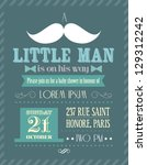 Stock vector baby shower boy little man invitation template vector illustration 129312242