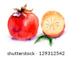 persimmon  watercolor... | Shutterstock . vector #129312542