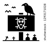 scary graveyard glyph style... | Shutterstock .eps vector #1293171028