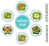 set of healthy salad...   Shutterstock .eps vector #1293185902