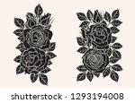rose silhouette ornament... | Shutterstock .eps vector #1293194008