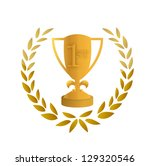 golden trophy leaves... | Shutterstock . vector #129320546