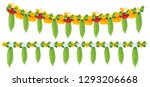 indian flower garland of mango... | Shutterstock .eps vector #1293206668
