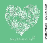 valentines day card with hand... | Shutterstock . vector #1293216835