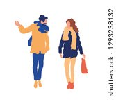 a man and a woman are walking....   Shutterstock .eps vector #1293238132