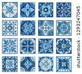 patchwork tile in blue  gray... | Shutterstock .eps vector #1293247045