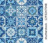 seamless patchwork tile in blue ... | Shutterstock .eps vector #1293247048