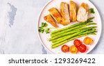 roasted chicken breast with... | Shutterstock . vector #1293269422