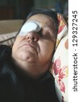 woman with eye bandage just...   Shutterstock . vector #129327245
