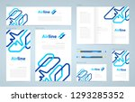 airplane lines theme set flyer... | Shutterstock .eps vector #1293285352