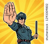police officer stop gesture.... | Shutterstock .eps vector #1293309802