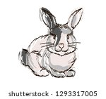 handdrawn cute rabbit. easter... | Shutterstock .eps vector #1293317005