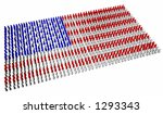 An American flag made up of lots of little stylised people - stock photo