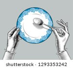 female hands with plate and... | Shutterstock .eps vector #1293353242