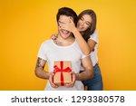 girl covering her boyfriend... | Shutterstock . vector #1293380578