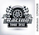 racing emblem  crossed... | Shutterstock .eps vector #129342638