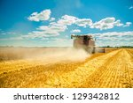 Combine Harvester In Work
