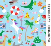 seamless summer pattern with... | Shutterstock .eps vector #1293456658