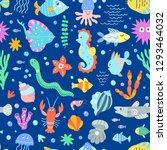 underwater wildlife sea pattern....   Shutterstock .eps vector #1293464032