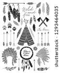 boho style free spirit vector... | Shutterstock .eps vector #1293464035