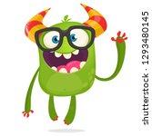 cartoon monster  wearing... | Shutterstock .eps vector #1293480145