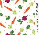 seamless watercolor vegetables... | Shutterstock .eps vector #1293515242