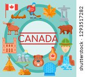 background with canada icons... | Shutterstock .eps vector #1293517282