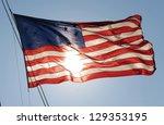 Colonial American Flag Waving