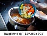 the shredded vegetables pouring ...   Shutterstock . vector #1293536908