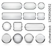 white glass buttons with metal... | Shutterstock .eps vector #1293543052
