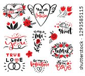 love hand drawn quotes with... | Shutterstock .eps vector #1293585115