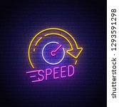 speed neon sign  bright... | Shutterstock .eps vector #1293591298