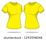 women's yellow t shirt for... | Shutterstock .eps vector #1293598048