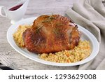 baked turkey thigh with garnish ...   Shutterstock . vector #1293629008