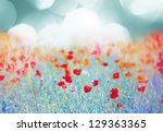 red poppy field at sunset | Shutterstock . vector #129363365
