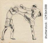 muay thai  combat martial art...   Shutterstock . vector #129364388
