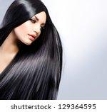 hair. beautiful brunette girl.... | Shutterstock . vector #129364595