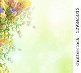 Stock photo bouquet of summer flowers with bokeh and copy space floral background 129365012