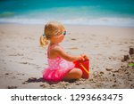 cute little girl play with sand ... | Shutterstock . vector #1293663475