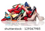 pile of various female shoes... | Shutterstock . vector #129367985