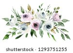 watercolor flowers  pink and... | Shutterstock . vector #1293751255