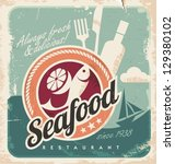 vintage poster for seafood... | Shutterstock .eps vector #129380102