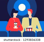 couple at the cinema   flat... | Shutterstock .eps vector #1293836338