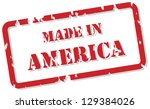 Red rubber stamp vector of Made In America - stock vector