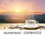white cup of coffee and coffee... | Shutterstock . vector #1293841522