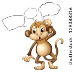Illustration Of A Brown Monkey...
