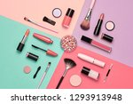 fashion flat lay cosmetic... | Shutterstock . vector #1293913948