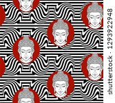 seamless pattern   buddha head... | Shutterstock .eps vector #1293922948