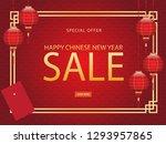 happy lunar new year 2019 sale...   Shutterstock .eps vector #1293957865